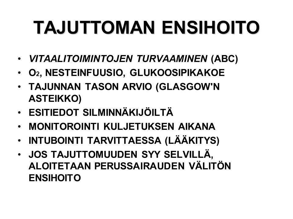 TAJUTTOMAN ENSIHOITO VITAALITOIMINTOJEN TURVAAMINEN (ABC)