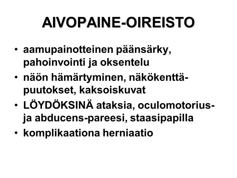 AIVOPAINE-OIREISTO aamupainotteinen päänsärky, pahoinvointi ja oksentelu. näön hämärtyminen, näkökenttä-puutokset, kaksoiskuvat.