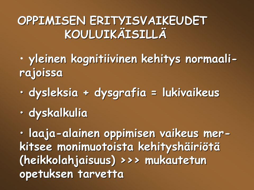 OPPIMISEN ERITYISVAIKEUDET KOULUIKÄISILLÄ