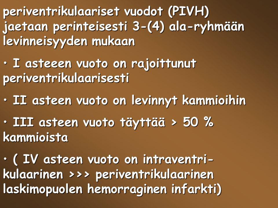 periventrikulaariset vuodot (PIVH) jaetaan perinteisesti 3-(4) ala-ryhmään levinneisyyden mukaan