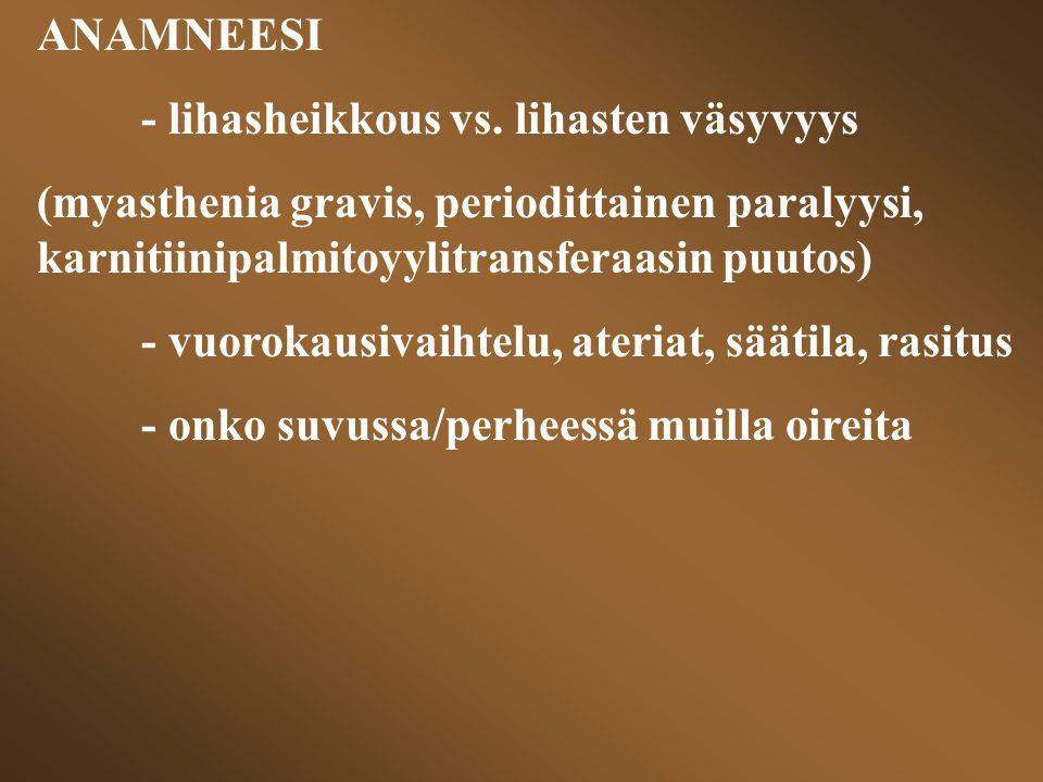 ANAMNEESI - lihasheikkous vs. lihasten väsyvyys. (myasthenia gravis, periodittainen paralyysi, karnitiinipalmitoyylitransferaasin puutos)