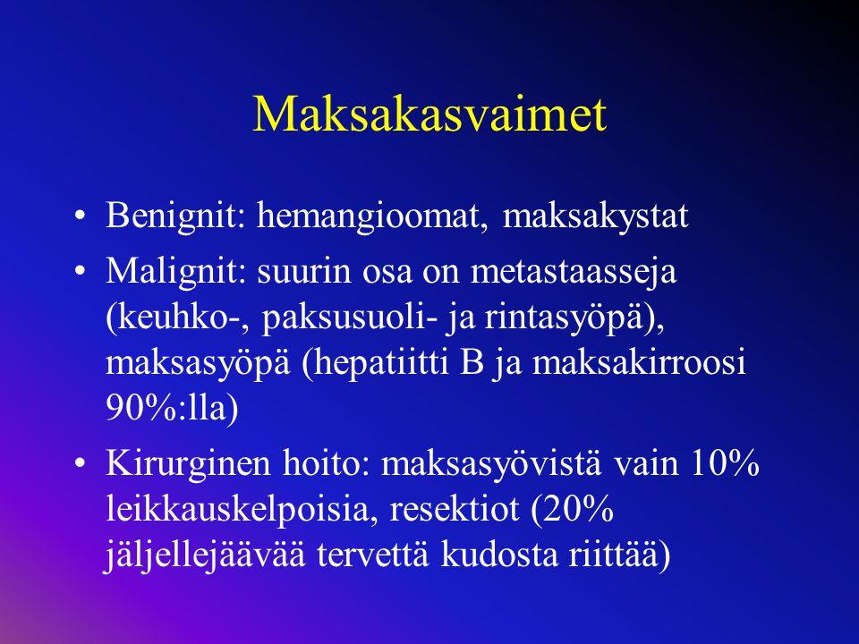 Maksakasvaimet Benignit: hemangioomat, maksakystat