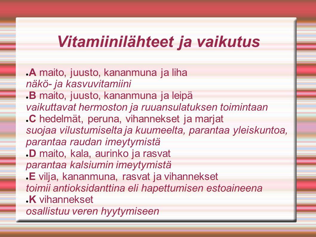 Vitamiinilähteet ja vaikutus