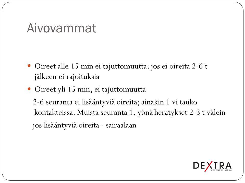 Aivovammat Oireet alle 15 min ei tajuttomuutta: jos ei oireita 2-6 t jälkeen ei rajoituksia. Oireet yli 15 min, ei tajuttomuutta.