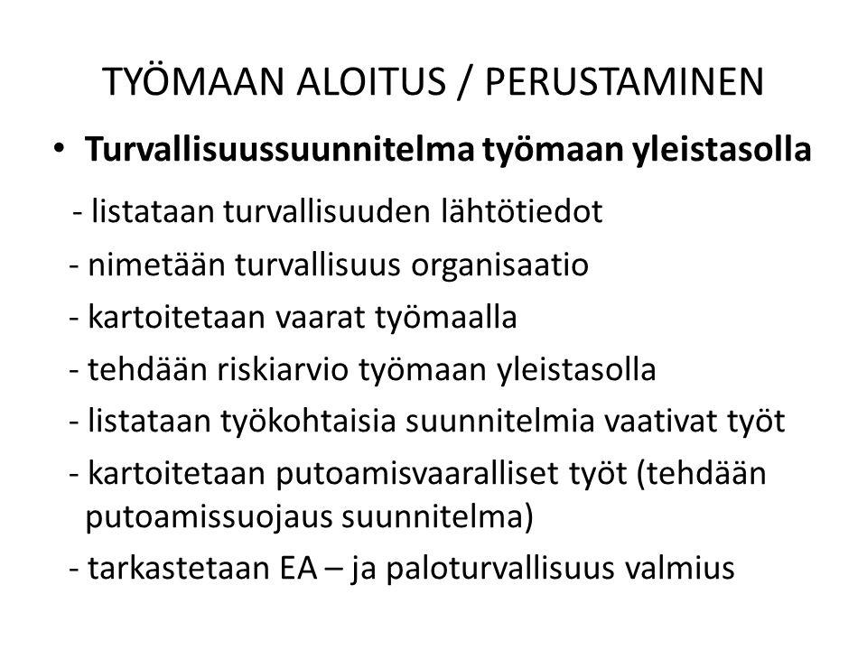 TYÖMAAN ALOITUS / PERUSTAMINEN