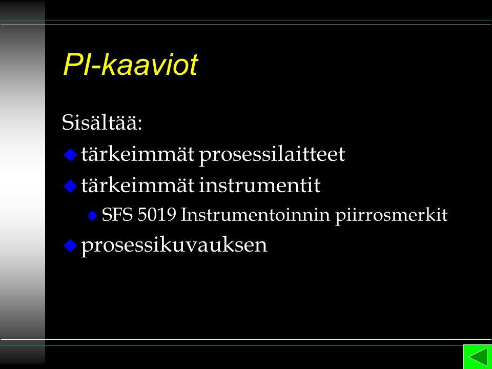 PI-kaaviot Sisältää: tärkeimmät prosessilaitteet