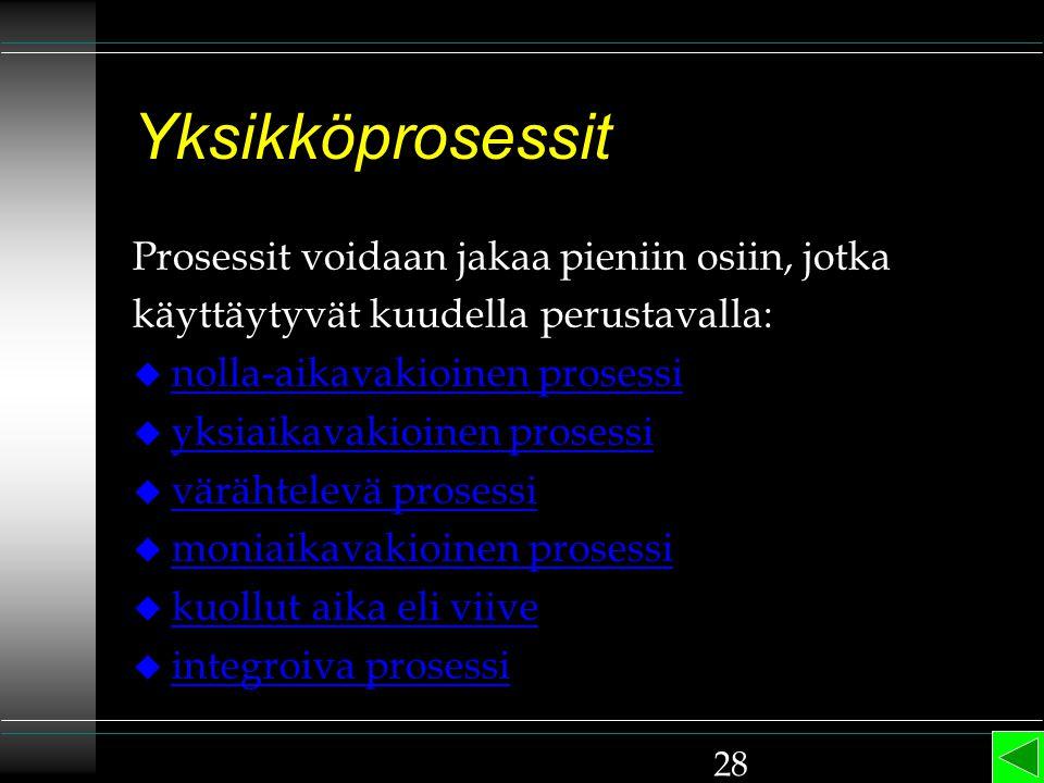 Yksikköprosessit Prosessit voidaan jakaa pieniin osiin, jotka