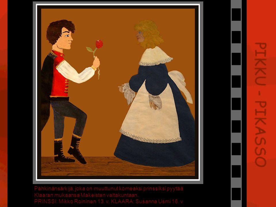 Pähkinänsärkijä, joka on muuttunut komeaksi prinssiksi pyytää Klaaran mukaansa Makeisten valtakuntaan.