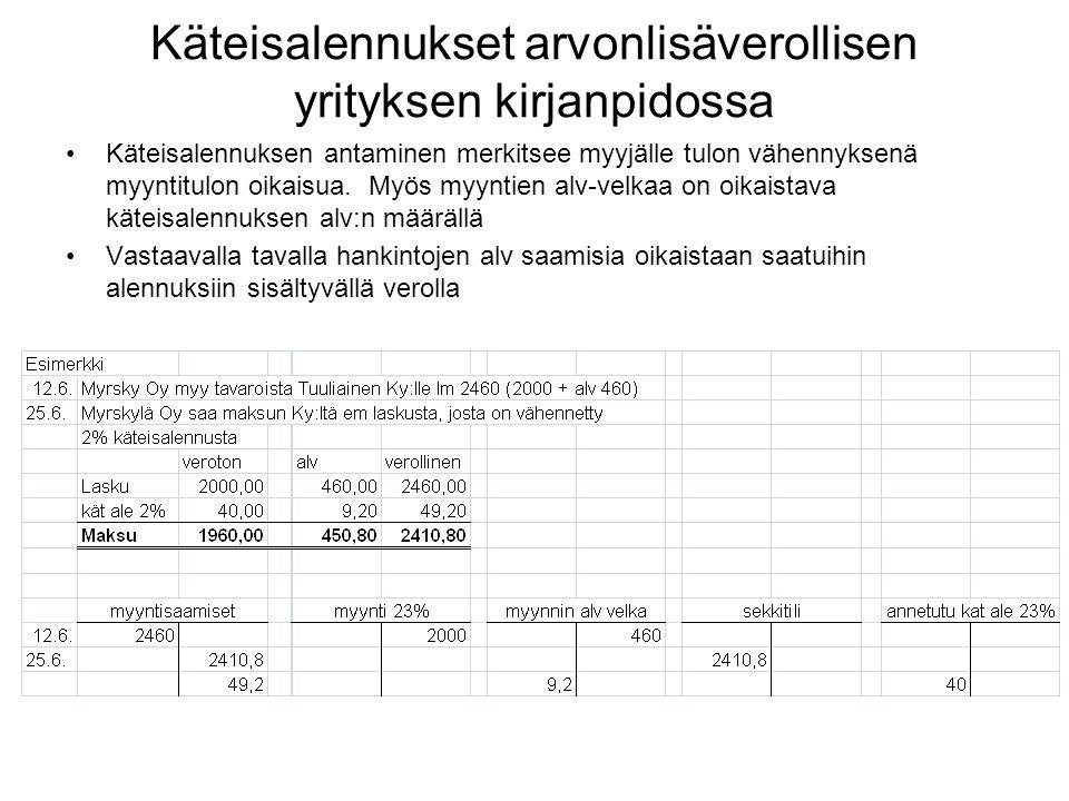Käteisalennukset arvonlisäverollisen yrityksen kirjanpidossa