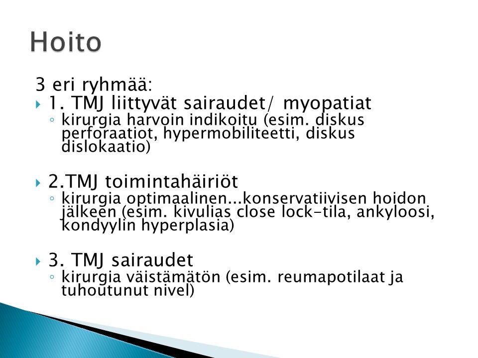Hoito 3 eri ryhmää: 1. TMJ liittyvät sairaudet/ myopatiat