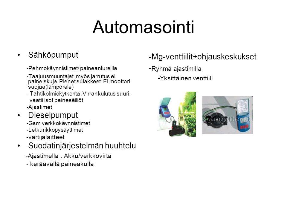 Automasointi -Pehmokäynnistimet/ paineantureilla Sähköpumput