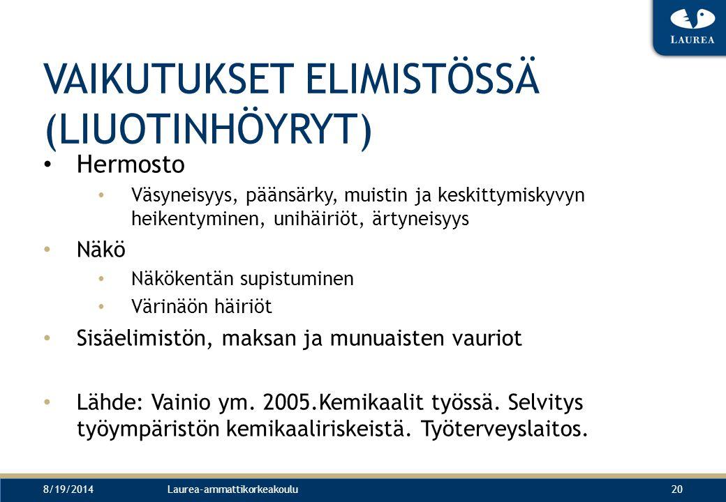 VAIKUTUKSET ELIMISTÖSSÄ (LIUOTINHÖYRYT)