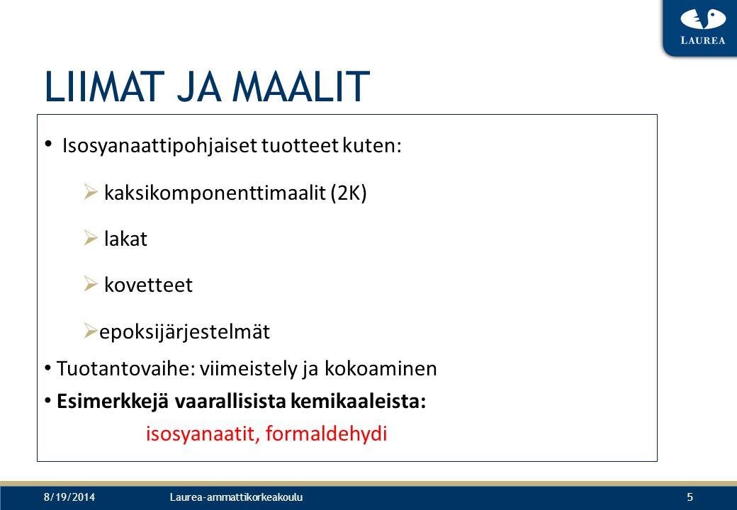 LIIMAT JA MAALIT Isosyanaattipohjaiset tuotteet kuten: