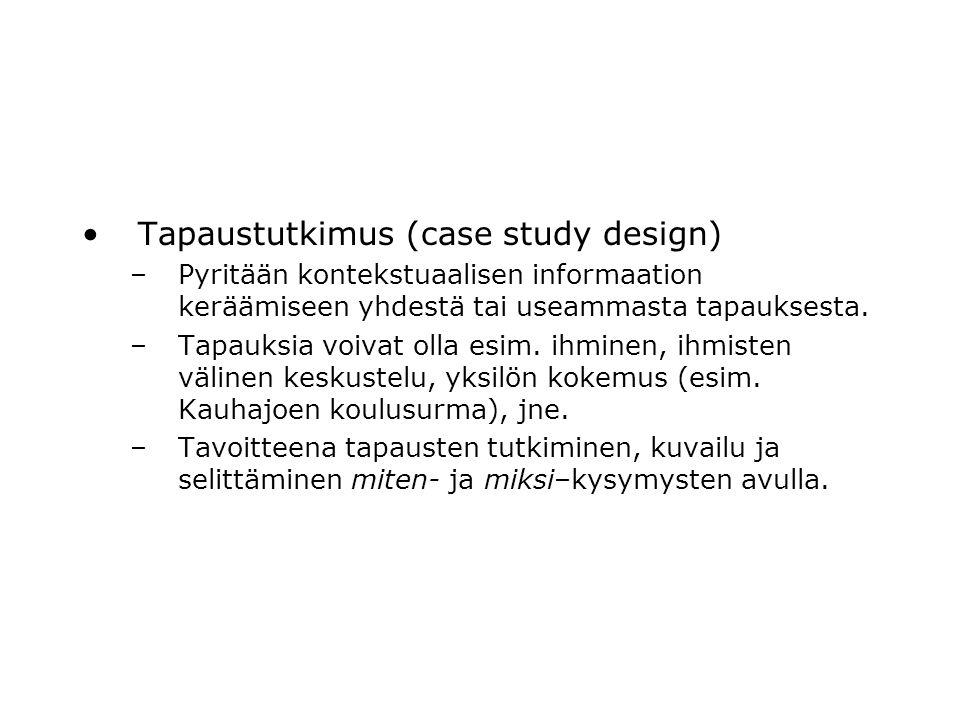 Tapaustutkimus (case study design)