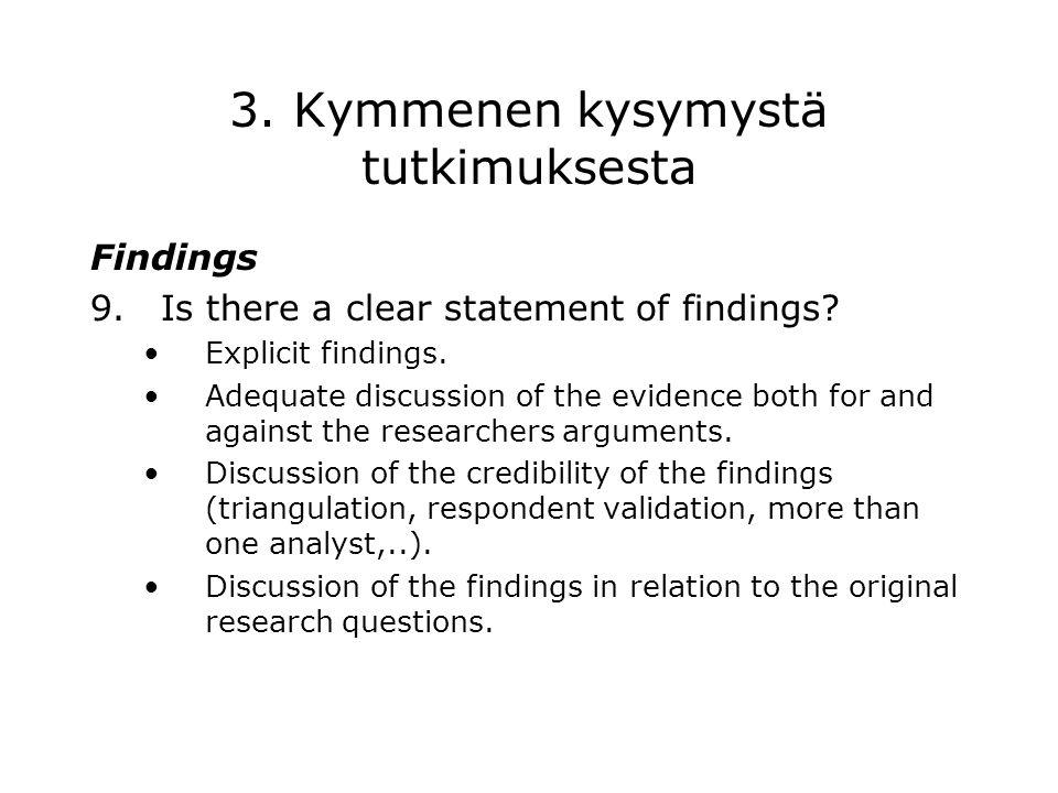 3. Kymmenen kysymystä tutkimuksesta