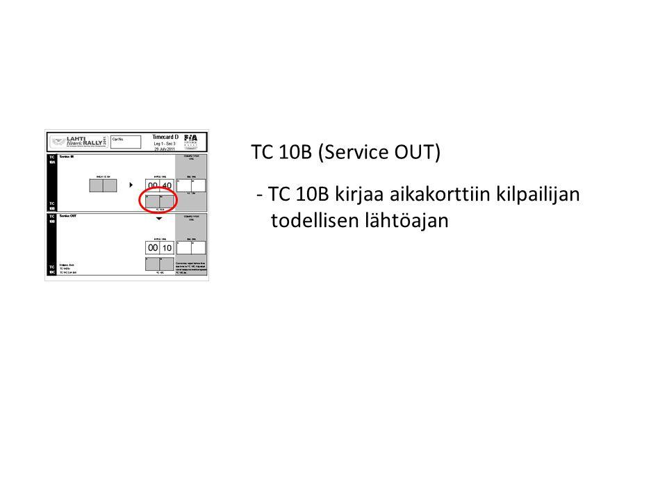 TC 10B (Service OUT) TC 10B kirjaa aikakorttiin kilpailijan todellisen lähtöajan