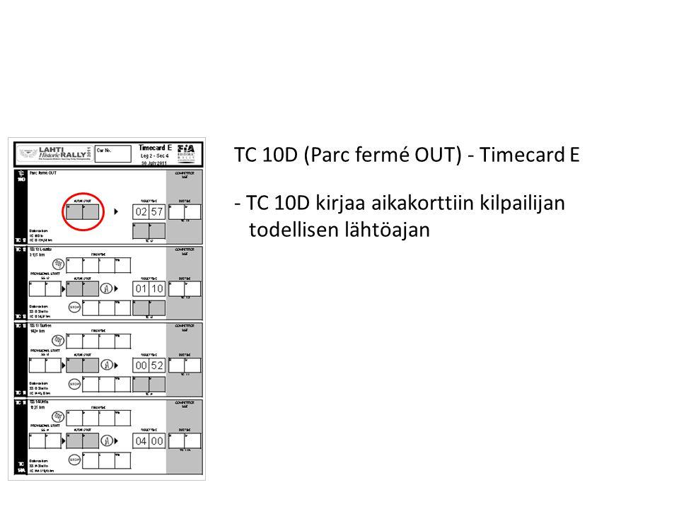 TC 10D (Parc fermé OUT) - Timecard E