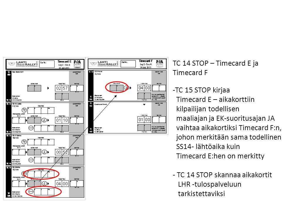 TC 14 STOP – Timecard E ja Timecard F. TC 15 STOP kirjaa. Timecard E – aikakorttiin. kilpailijan todellisen.
