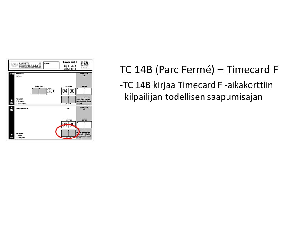 TC 14B (Parc Fermé) – Timecard F