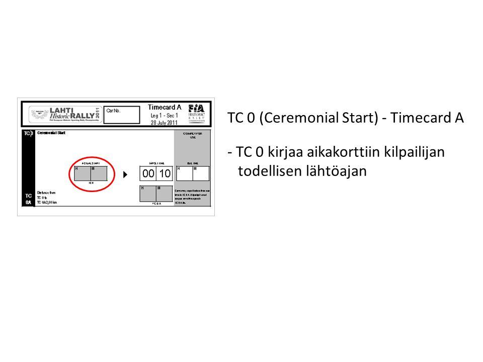 TC 0 (Ceremonial Start) - Timecard A