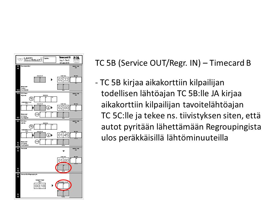 TC 5B (Service OUT/Regr. IN) – Timecard B