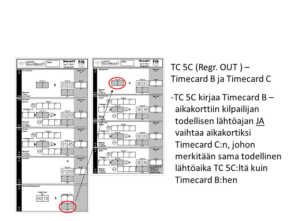 TC 5C (Regr. OUT ) – Timecard B ja Timecard C. TC 5C kirjaa Timecard B – aikakorttiin kilpailijan.