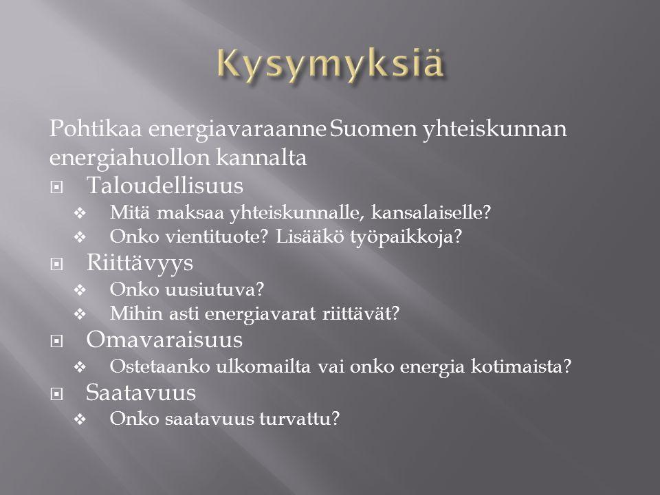 Kysymyksiä Pohtikaa energiavaraanne Suomen yhteiskunnan