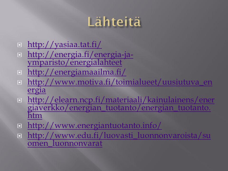 Lähteitä http://yasiaa.tat.fi/