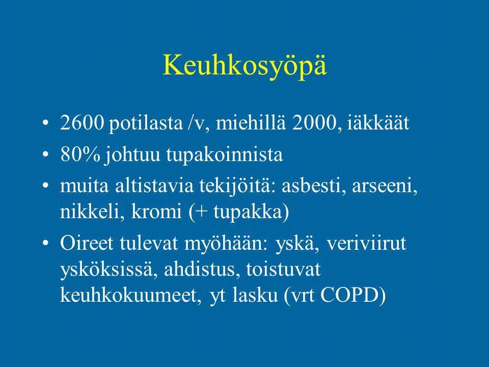 Keuhkosyöpä 2600 potilasta /v, miehillä 2000, iäkkäät