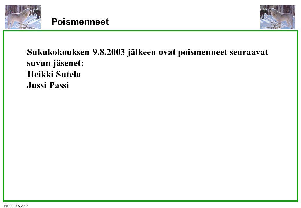 Poismenneet Sukukokouksen 9.8.2003 jälkeen ovat poismenneet seuraavat suvun jäsenet: Heikki Sutela.