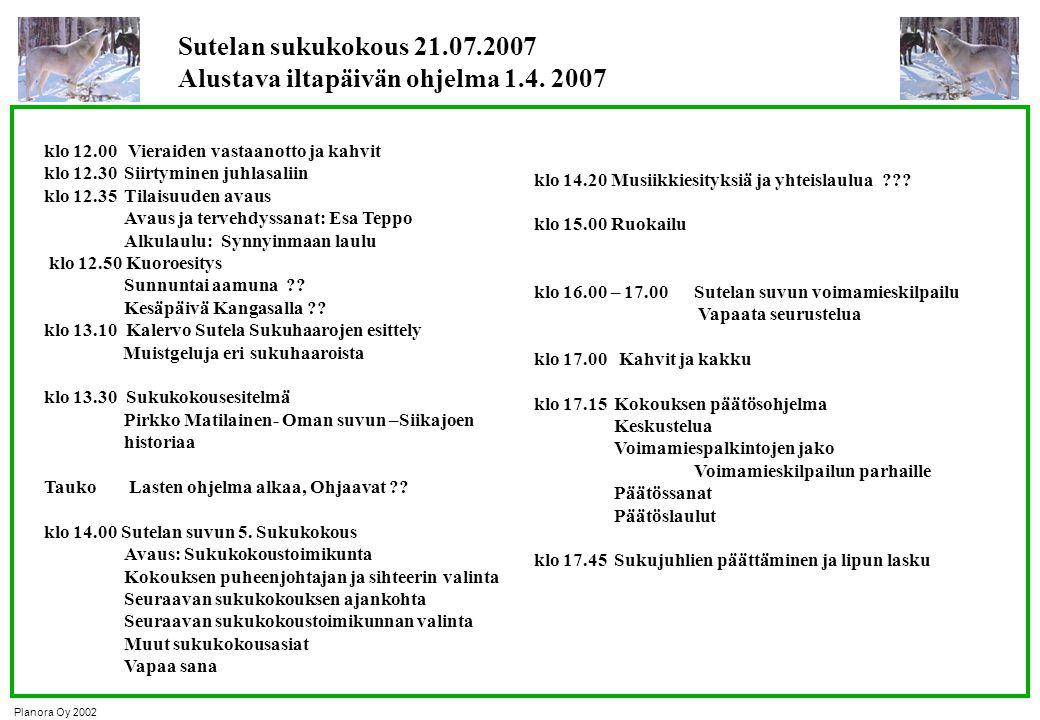 Sutelan sukukokous 21.07.2007 Alustava iltapäivän ohjelma 1.4. 2007