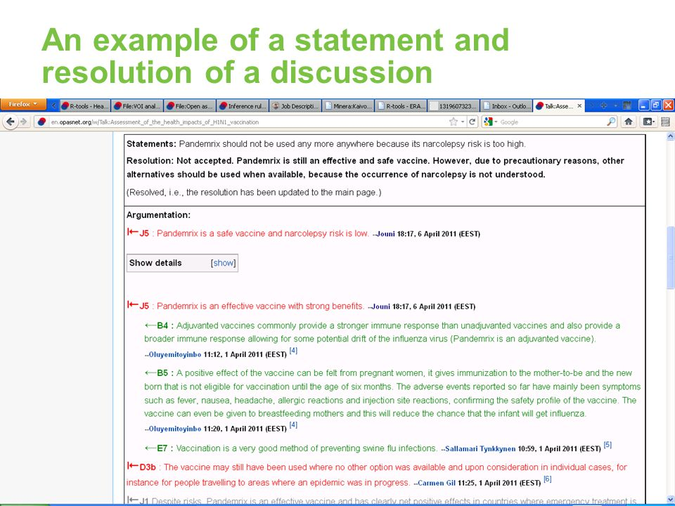An example of a statement and resolution of a discussion