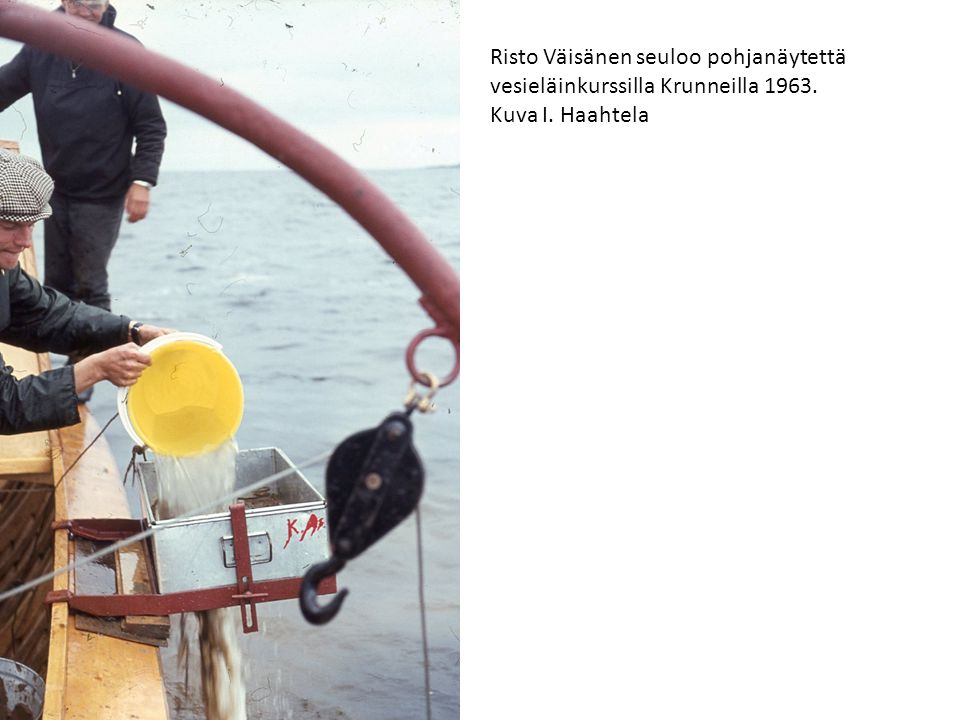Risto Väisänen seuloo pohjanäytettä vesieläinkurssilla Krunneilla 1963.