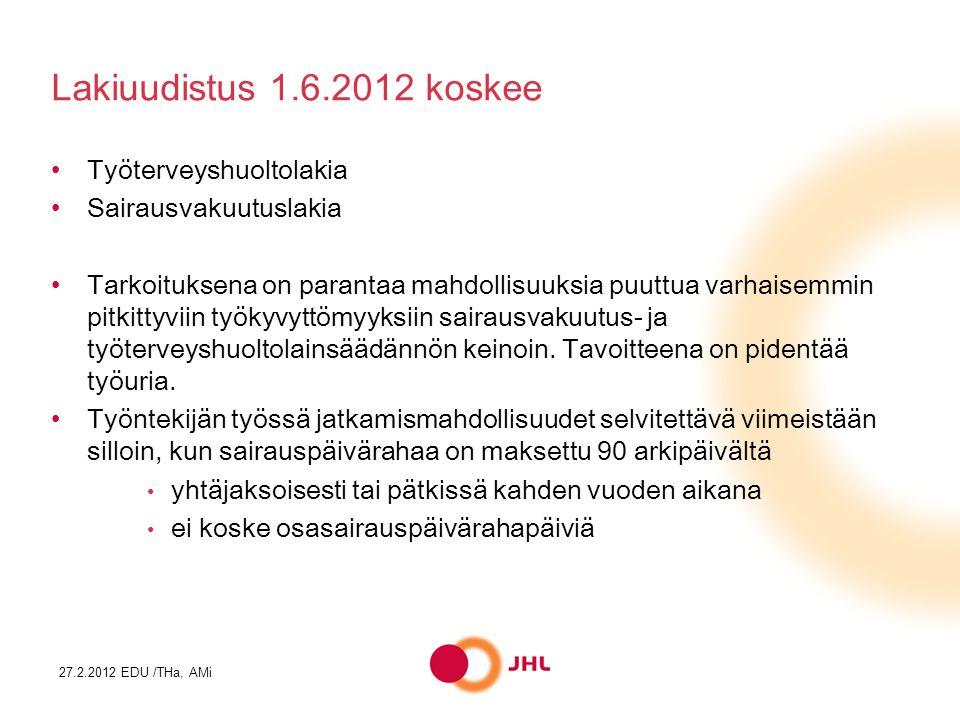 Lakiuudistus 1.6.2012 koskee Työterveyshuoltolakia