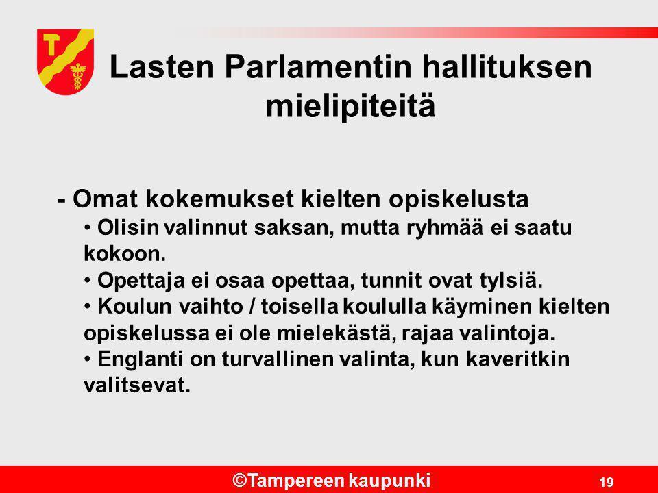 Lasten Parlamentin hallituksen mielipiteitä