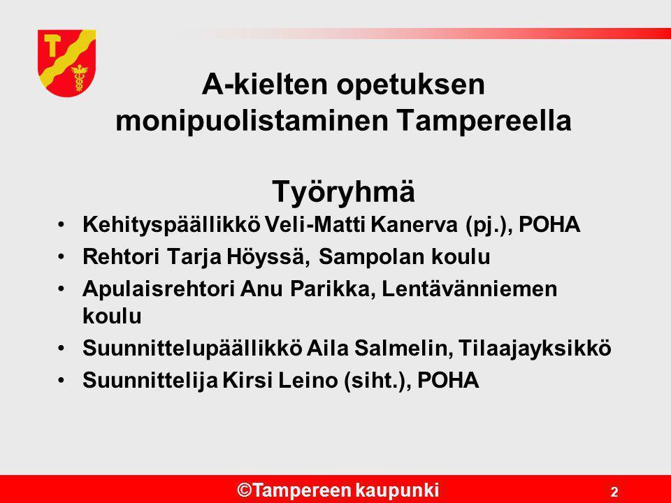 A-kielten opetuksen monipuolistaminen Tampereella Työryhmä