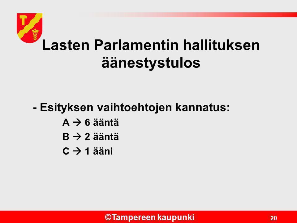 Lasten Parlamentin hallituksen äänestystulos