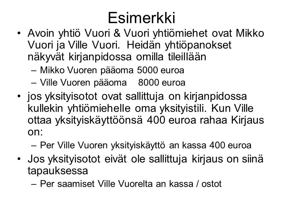 Esimerkki Avoin yhtiö Vuori & Vuori yhtiömiehet ovat Mikko Vuori ja Ville Vuori. Heidän yhtiöpanokset näkyvät kirjanpidossa omilla tileillään.