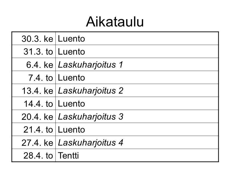 Aikataulu 30.3. ke Luento 31.3. to 6.4. ke Laskuharjoitus 1 7.4. to