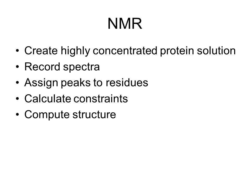 NMR Create highly concentrated protein solution Record spectra