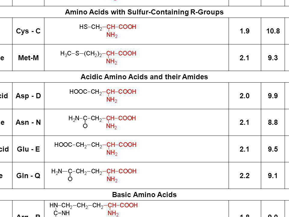 Amino Acids with Aliphatic R-Groups Glycine Gly - G 2.4 9.8