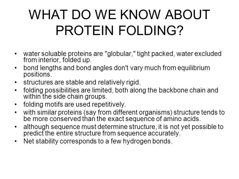 WHAT DO WE KNOW ABOUT PROTEIN FOLDING