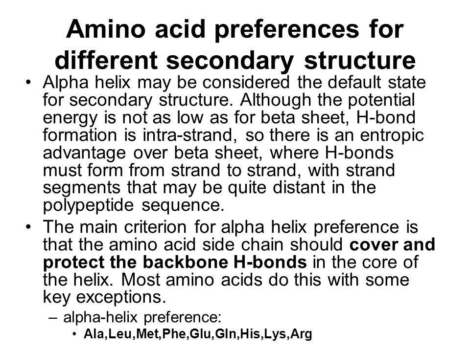 Amino acid preferences for different secondary structure