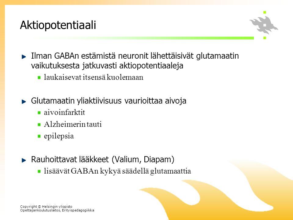 Aktiopotentiaali Ilman GABAn estämistä neuronit lähettäisivät glutamaatin vaikutuksesta jatkuvasti aktiopotentiaaleja.