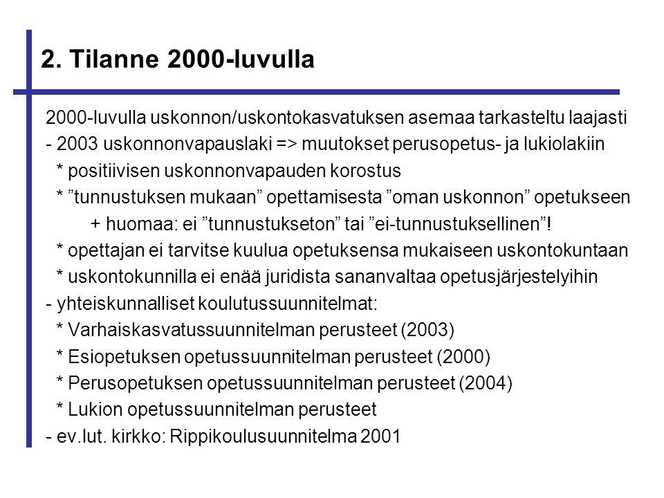 2. Tilanne 2000-luvulla 2000-luvulla uskonnon/uskontokasvatuksen asemaa tarkasteltu laajasti.