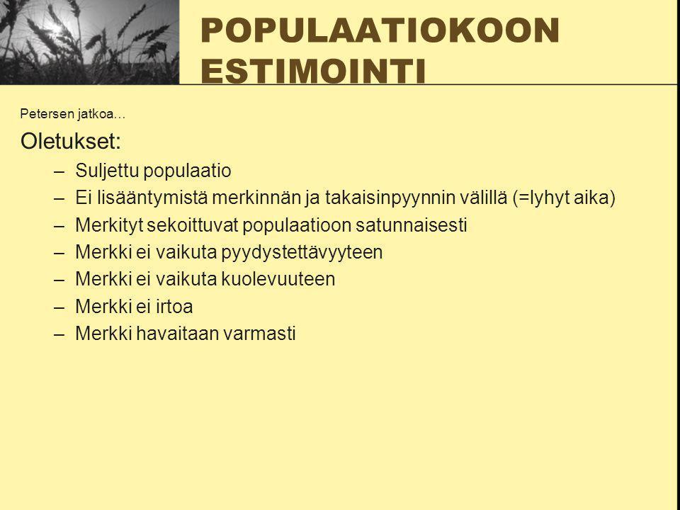 POPULAATIOKOON ESTIMOINTI