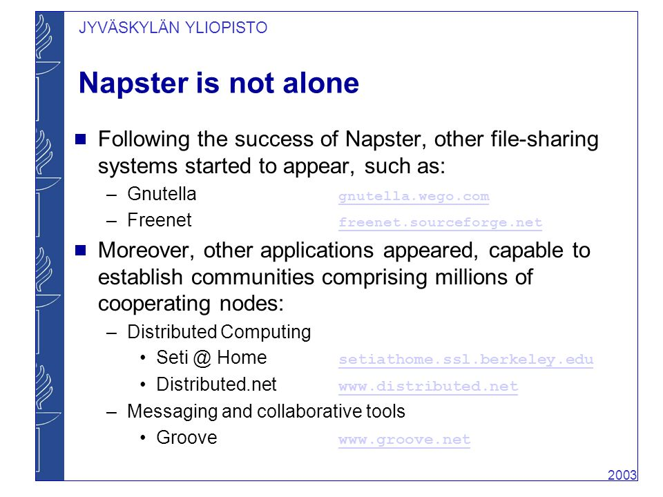 a history of napster a file sharing application The history of file sharing  offered the possibility to share all file types after the death of napster  the internet than a file sharing application,.
