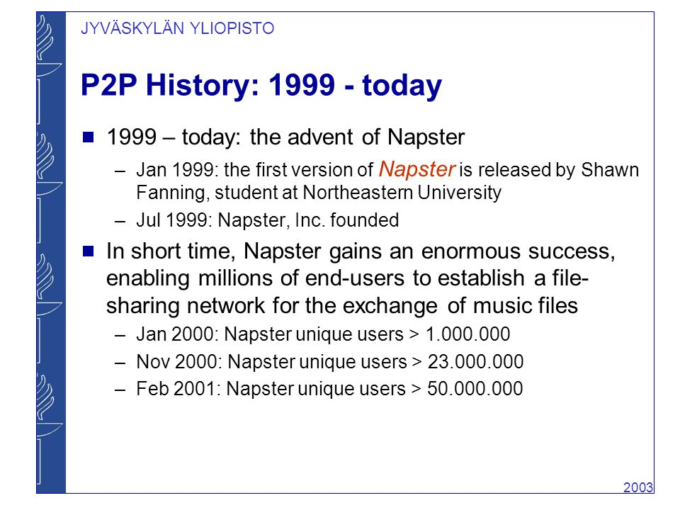 the history of napster created by shaun fanning History although there were  the 2003 film the italian job features napster co-founder shawn fanning as a cameo of himself this gave credence to one of .