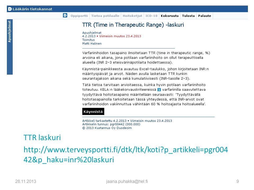 Yleislääkäripäivät Varfariinihoidon seurannan vaihtoehtoja - ppt lataa