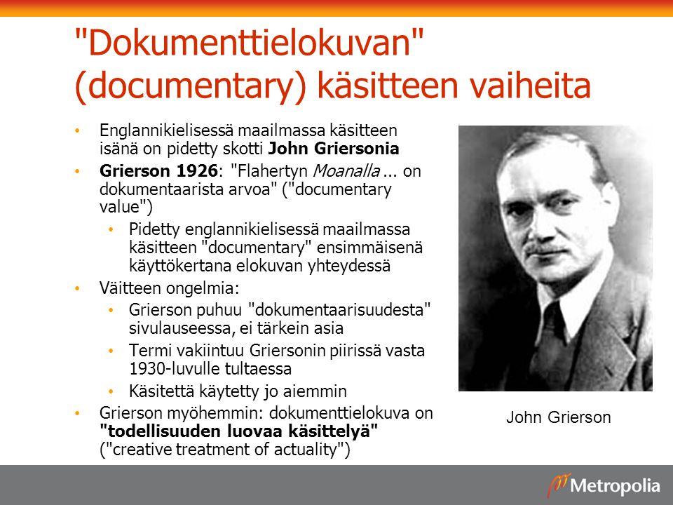 Dokumenttielokuvan (documentary) käsitteen vaiheita